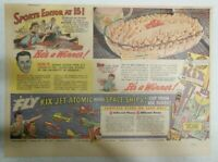 Kix Cereal Ad: Jet Atomic Model Space Ships from 1930's-1940's 11 x 15 inches