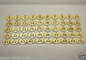 50 Laser Engraved Number Discs, Table, Tags, Locker, Pub, Restaurant, Clubs