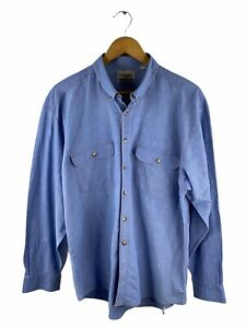 VINTAGE Como Button Up Shirt Mens Size M Blue Long Sleeve Pockets Collared