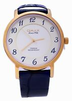 Omax Swiss Men's Gold Dial Black Leather Strap Analog Quartz Wrist Watch