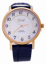 Omax Swiss Men's Gold Dial Black Leather Strap Analog Quartz Wrist Watch
