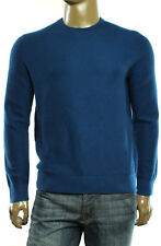 $125 New Michael Kors Crew Neck Wool Blend Waffle Knit Blue Pullover Sweater L