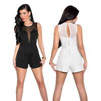 Sexy Damen Jumpsuit Overall Einteiler Mesh Jersey elegant Club Party S 34 36 38