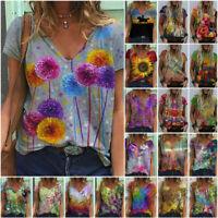 Plus Size Womens Short Sleeve Casual O Neck T Shirt Boho Print Loose Top Blouse