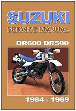 SUZUKI Workshop Manual DR600 DR500 Dakar 1984 1985 1986 1987 1988 1989 Service