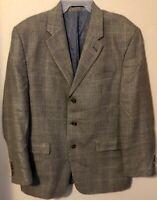 Ralph by Ralph Lauren Blazer Gray Plaid 52% Silk 48% Wool Sport Coat Men's 44R