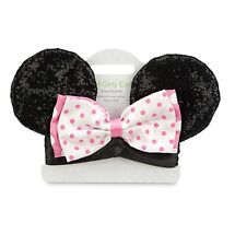 Disney Store Minnie Mouse Headband Ears Baby Pink Polka Dot Bow Dress Up Gift