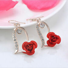 Rose Flower Earrings Rhinestone New Lady's Jewelry Women Dangle Crystal