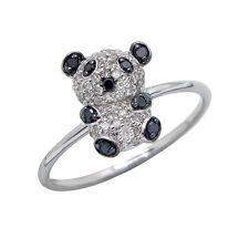 14K WHITE ROSE GOLD PAVE BLACK DIAMOND PANDA BEAR ANIMAL CREATURE COCKTAIL RING