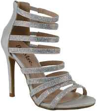 Rainbow Rhinestone Strappy Cage Dress Pump Sandal Open Toe Stiletto High Heel US