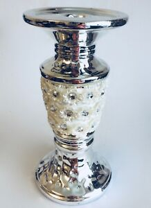 Silver Mille Floral Diamentes Candlestick Candle Holder Stand Table Xmas Decor