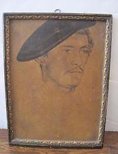 Vintage Antique Drawing Painting Frenchman Art on Plaster Chalkboard Art Framed