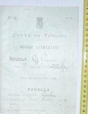 CITTA DI TORINO@ PAGELLA DI SCUOLA ELEMENTARE ANNO 1911/12 SCUOLA PARINI @ R@R@