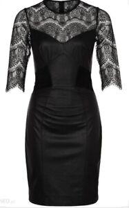 Alice Temperley Black Leather & Lace Venus Dress Size UK10 BNWT £625