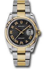 Rolex Datejust 36mm Two Tone Black Dial Oyster Bracelet Fluted Bezel 116233