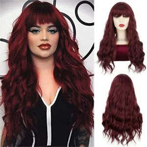 AU 24inch Cosplay wig with bangs Full Head Wine Red Fashion Heat resistant hair