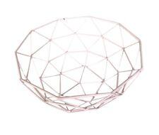 Home Blush Pink Metal Fruit Basket Geometric Holder Bowl