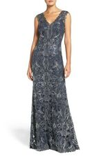 SZ 16 Tadashi Shoji Kelly Navy Silver Embroidered Mermaid Dress Full Gown $548