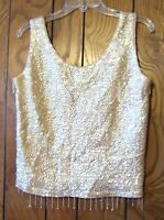 Ivory Scallop Sequin and Beaded Sleeveless Top 100% Wool Sequin Top Sz Medium