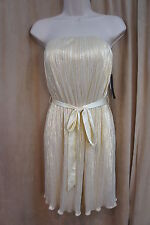 Aqua Dresses Dress Sz 2 Ivory Gold Strapless Waist Tie Cocktail Party Dress