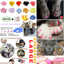 Cat Nail Caps Claw LARGE Size Soft 100PCS And 5Pcs Adhesive Glue for CATS PAWS