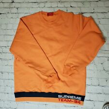 AUTHENTIC  Supreme Rib Stripe Crewneck Sweatshirt Orange Medium