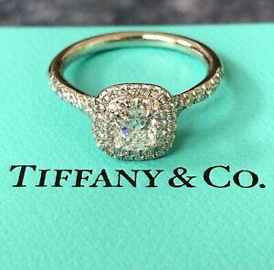 Tiffany & Co. 0.80tcw E/VVS2 Soleste Diamond Double Halo Engagement Ring Crt/Val