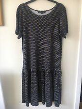 French Connection Size 10 Charcoal Grey Blue Black Diamond Pattern Jersey Dress