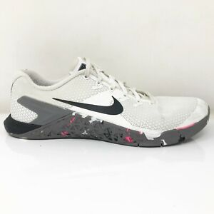 Nike Womens Metcon 4 924593-105 White Black Running Shoes Lace Up Low Top Sz 10
