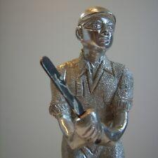 """Vintage Metal Antique Unusual Cricketer Batsman Statue 9 3/4 """""""