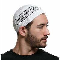 Cotton Kufi Beanie Hats with Lattice Weave in Solid Colors