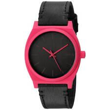 Nixon Women's Watch Time Teller Quartz Pink Case Black Leather Strap A0452531