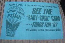 VINTAGE NOS RARE ACCESSORY GENUINE 1967 FORD NEW CAR ANNOUNCEMENT ANTI-FOG WIPER