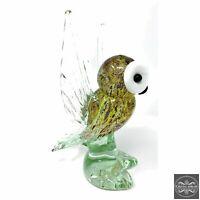 "New 9"" Hand Blown Glass Arctic Owl Glass Murano Style Art Sculpture Figurine"