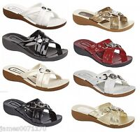 ladies sandals slip-on  shoes flip flips small wedge mules size 3 4 5 6 7 8