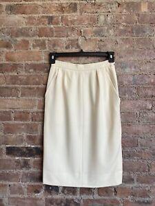Vintage Saint Laurent Rive Gauche Women's Skirt, Sz 40, France Ivory