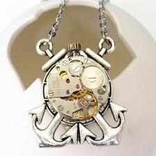 steampunk punk watch parts gear sea anchor collar brooch pin pendant men jewelry