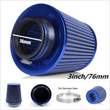 "3""76mm Universal High Flow DRY Cone Air Intake Turbo Filter Clean Washable Blue"