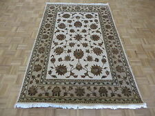 5 x 7'10 Hand Knotted Ivory Persian Tabriz With Silk Oriental Rug G5237