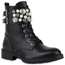 Damen Schnürstiefeletten Gefütterte Stiefeletten Zierperlen 831842 Schuhe