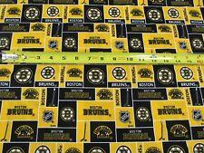 "NHL Boston Bruins Hockey Fabric Half Yard (18"" x 43"") Cotton Yellow Black"