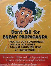 World War II Enemy Propaganda 17x22 Poster Adolf Hitler Germany Japan WW2