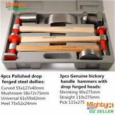 7pc Expert Quality Car Body Dent Repair Kit Dolly Panel Beat Hickory HDL Hammer