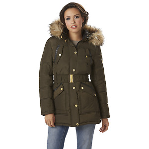 Rocawear Womens Belted Hooded Puffer Coat Olive S #NJG2M-G10