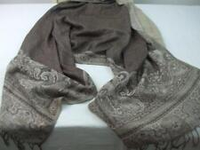 """Scarf Shawl Wrap Cover Taupe Beige Soft Feel Polyester Fringe Tassels 70"""" x 28"""""""