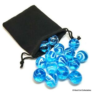 15 x Stunning Clear Azure Blue Swirl Small 16mm Glass Toy Marbles in Gift Bag