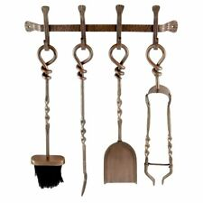 WALL HUNG COMPANION SET 4 FIRE TOOLS ANTIQUE COPPER FINISH FIREPLACE ACCESSORY