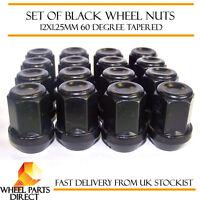 16 * 12x1.25mm 12x1.25 Black Alloy Steel Wheel Lug Nuts 60 Degree Tapered Bolts