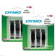 """6PK (6-Rolls) Dymo Glossy BLACK 3/8"""" (9mm) Embossing Label Maker 3D Refill Tapes"""