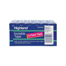 Highland 6200k6 Invisible Tape Clear Permanent Mending 1 Core 6pack